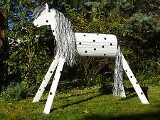 130cm Holzpferd Holzpony Onkel mit Maul Voltigierpferd wetterfest lasiert NEU