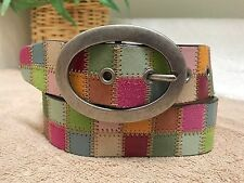Fossil Multi-Color Patchwork Genuine Leather Suede Boho Hippie Belt Small VGC