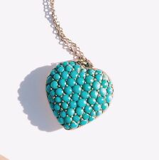 Victorian Necklace Turquoise Puffy Heart Victorian Mourning Jewelry Charm Locket