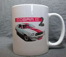 White & Red Ford Mustang II Cobra II Coffee Cup, Mug -New- 70's Classic - Sharp!