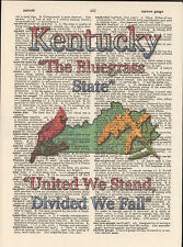 Kentucky State Map Symbols Altered Art Print Upcycled Vintage Dictionary Page