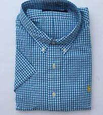 Ralph Lauren Mens polo checkered seersucker s/s shirt maine blue 1xl $98