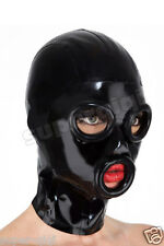 100% Latex Rubber Gummi 0.45mm Mask Hood Catsuit Suit Rolled Edges Party Costume