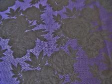 FRENCH SOFT SUITING CHEVRON FLORAL JACQUARD-PURPLE/BLACK -DRESS FABRIC-FREE P&P