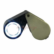 10X Jewelry Triplet Loupe Magnifier + LED & UV Light 21mm Lens + Leather Case