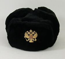 USHANKA*Russian Winter Hat*Military Style* w/Imperial Eagle Crest Badge* L*BLACK