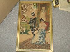 """Vintage Hand Stitched Needlepoint Petite Point European Framed 10"""" x 15"""""""