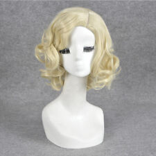 Retro Queen Blonde Cosplay Wig Medium long Curly Synthetic Hair Women Wigs