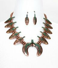 Antique Copper and Turquoise Colored FASHION Necklace Set