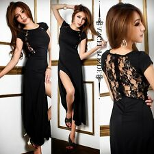 Sexy Short Sleeve Floral Lace High Slit Women Maxi Evening Party Dress Noble L