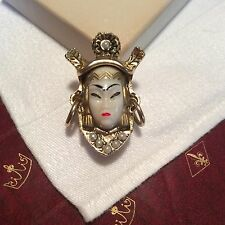 SELRO SELINI Vintage 1950s ASIAN PRINCESS Face Hoops Pearl Gold Tone BROOCH