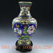 Chinese  HandWork  Brass Cloisonne Peony Vase gd9229