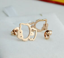 18K Rose Gold GF Lady Girl's Japanese Lucky Cat Cute Hello Kitty Stud Earrings