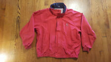 Nautica Yacht Club Jacket LARGE Red full zip SPELL OUT flag stow-a-hood VTG 90s