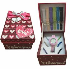 Ladies/Girls Love Gift Watch Set With Mutlicolour Interchangeable Straps