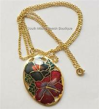 Gold Plated Cloisonne Hibiscus Flower Necklace Island Beach Hawaiian 24 inch USA