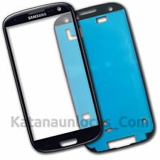 Lens Screen Outer glass  for Samsung Galaxy S3 i9300 Black + Adhesive