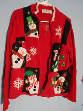 WOMENS UGLY CHRISTMAS SWEATER RED SNOWMEN MEDIUM CARDIGAN TIARA