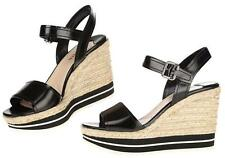 NEW PRADA BLACK LEATHER ESPADRILLES PLATFORM WEDGE SANDALS SHOES 41/11