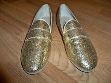 STEVE MADDEN GOLD FABRIC SEQUIN VERY UNIQUE FLAT SHOES 8M NEW JUST BEAUTIFUL