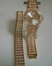 GOLD FINISH CLEAR CRYSTAL TECHNO HIP HOP BLING WATCH AND BRACELET SET