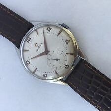 OMEGA BIG 38 MM  MENS MNUAL WIND  WATCH VINTAGE CLASSIC SILVER  NUMBERS