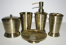 5 PC SET PARADIGM BRASS DISPENSER+JAR+TUMBLER+TOOTHBRASH HOLDER+SOAP DISH
