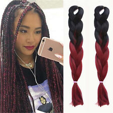 "5 Pcs 24"" Ombre Black / 99J Kanekalon Jumbo Synthetic Braiding Hair Extensions"