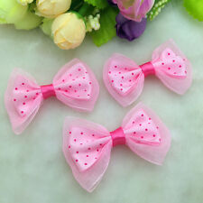 New DIY 10Pcs Pink Lace Satin Ribbon BOW Appliques Craft Wedding Decoration