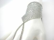 Mesh Silver Plated Bracelet w Attached Woman's Ring Ladies Slave Popular