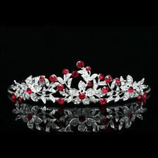 Lovely Floral Red Rhinestone Crystal Prom Bridal Wedding Tiara 7657