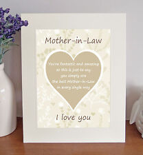 """MOTHER-IN-LAW 'I Love You' Free Standing 10""""x8"""" Poem Novelty Sentimental Gift"""