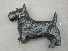 Metal German Putz Style Wide Eyed Scottish Terrier Ornament  with pins