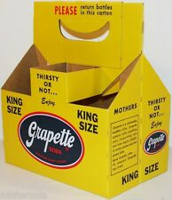 Vintage soda pop bottle carton GRAPETTE King Size unused new old stock n-mint+