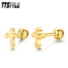 TTstyle Gold Surgical Steel Cross Fake Ear Cartilage Tragus Earrings A Pair NEW