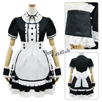 White With Black Japanese Girl Maid uniform Cosplay lolita Costume Dress Gift