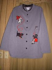 Sz 2XL Jacket Sweater Fleece Knit Cat Cats Kitten Gray Buttons Pkts LS New 2XL