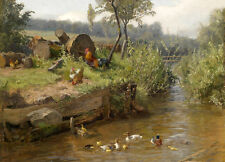 Large Oil painting Poultry cocks hens ducks duckings in creek landscape