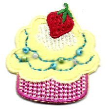 CUPCAKE w/STRAWBERRY & BEADS/Iron On Embroidered Applique, Sweets,Treats