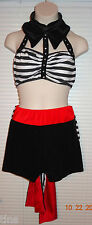 Glamour Costumes Dance Costume White Black Stripe Black Red Shorts Bow Sz Med SL