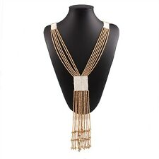 Khaki Multi Strand Measle Beads Chain Y-Shaped Tassel Pendant Necklace
