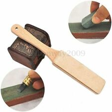 1Pc Wood Handle Leather Sharpening Strop Handmade For Razors Polish Compound