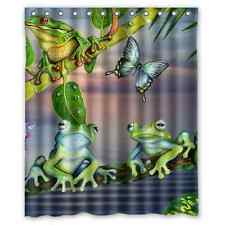 Cartoon Butterfly Frog Green Leaves Fabric Bathroom Shower Curtain 60x72 Inches