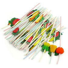 50 Mixed 3D Fruit Cocktail Drinking Plastic Straw Party BBQ Hawaiian 24cm Length