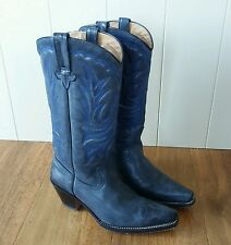 Santana Blue Embroidered Leather Cowboy Boots. Goodyear Sole.Line Dancing UK 4.