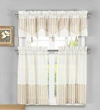 Ivory Yellow Beige Lynna Striped Faux Linen 3-Piece Kitchen Curtain with Tassels