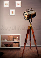 Nautical Antique Shaded Wooden Tripod Spot Light Lighting Floor Lamp Home Decor