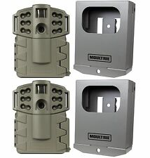 (2) MOULTRIE Game Spy A-5 Gen2 Low Glow 5 MP Trail Game Cameras + Security Boxes