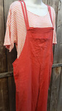 White Stag Linen Orange Overalls Romper Capri Boho Large L  XL Old Navy Top SET