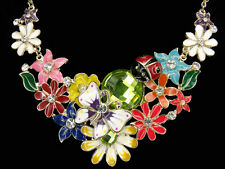 Butterfly Ladybug Flower Enamel Frontal Bib Necklace Pendant Jewelry Multi-color